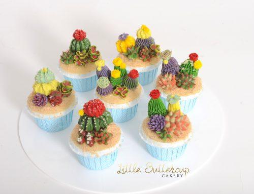 Cute Buttercream Cacti Cupcakes