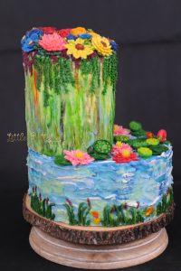 Pond Flowers Wedding Cake