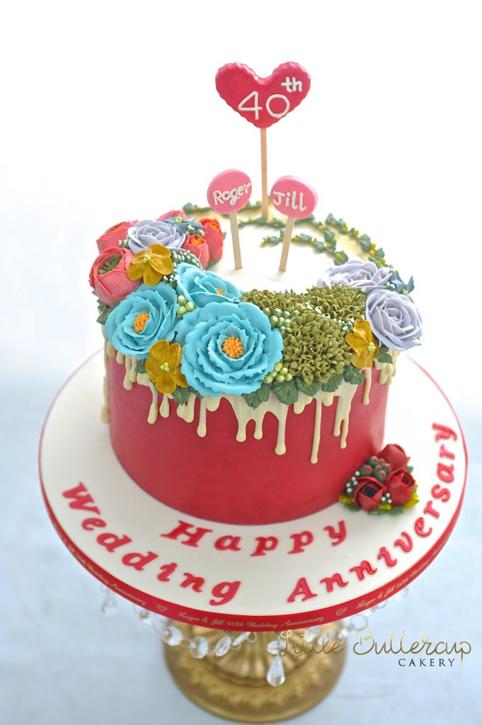 Celebration cake Ruby Wedding Anniversary