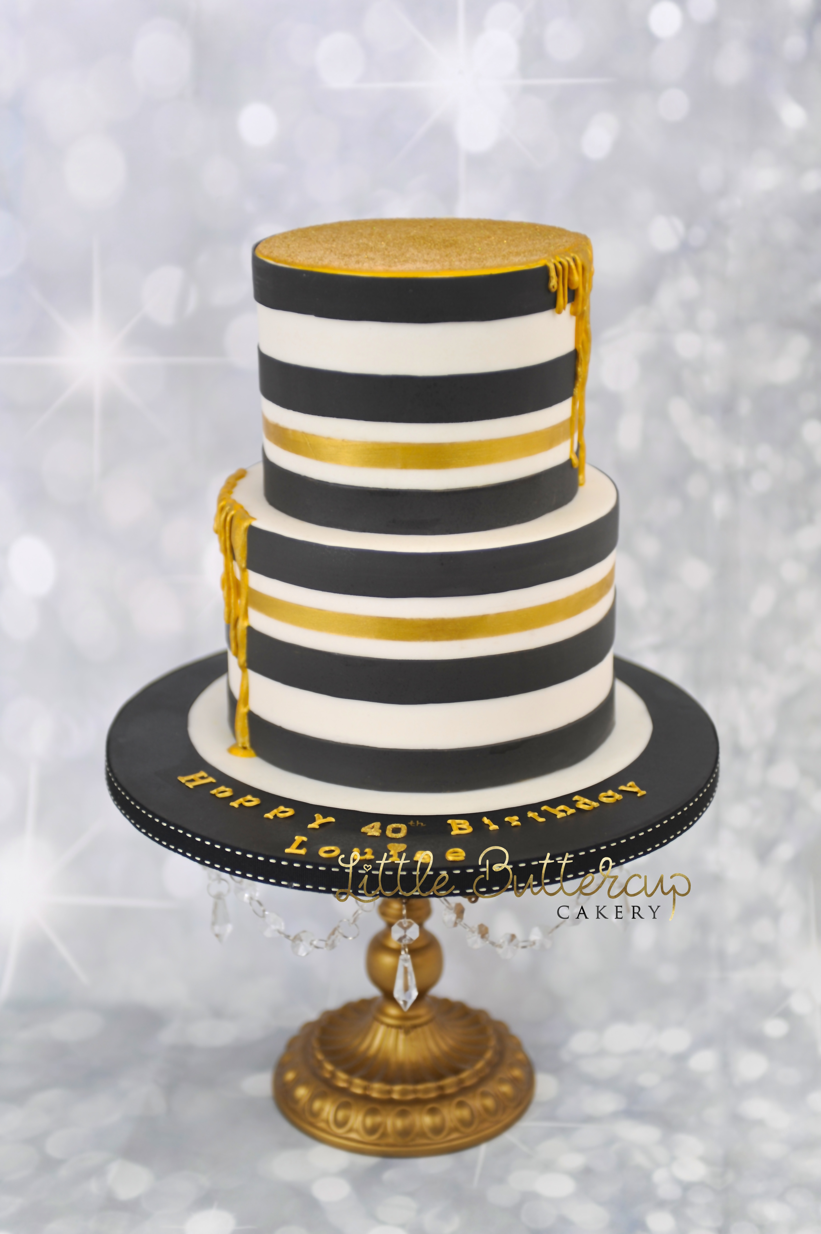 Monochrome Black And White With Gold Drip Birthday Cake Little