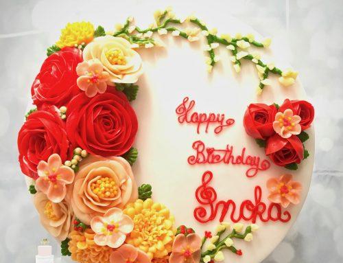 Buttrecream Flowers Birthday Cake