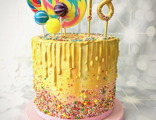 Buttercream Drip and Giant Lollipops Cake