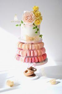 Macaron tower wedding cake