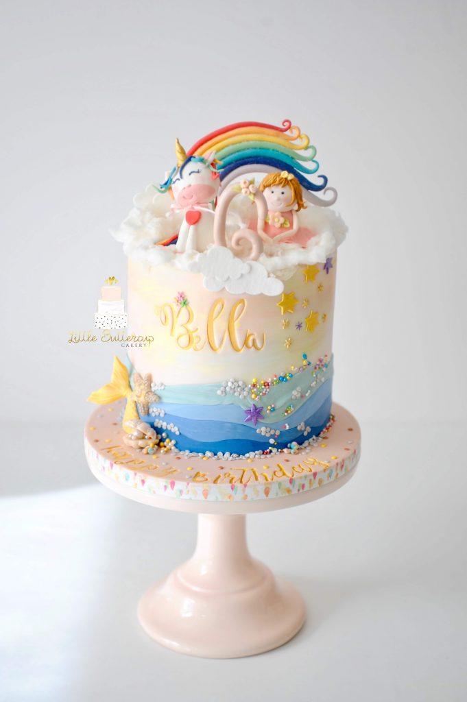 Unicorn mermaid and fairy birthday cake