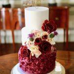 Burgundy colour palette wedding cake