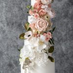 Cascade sugar flowers wedding cake
