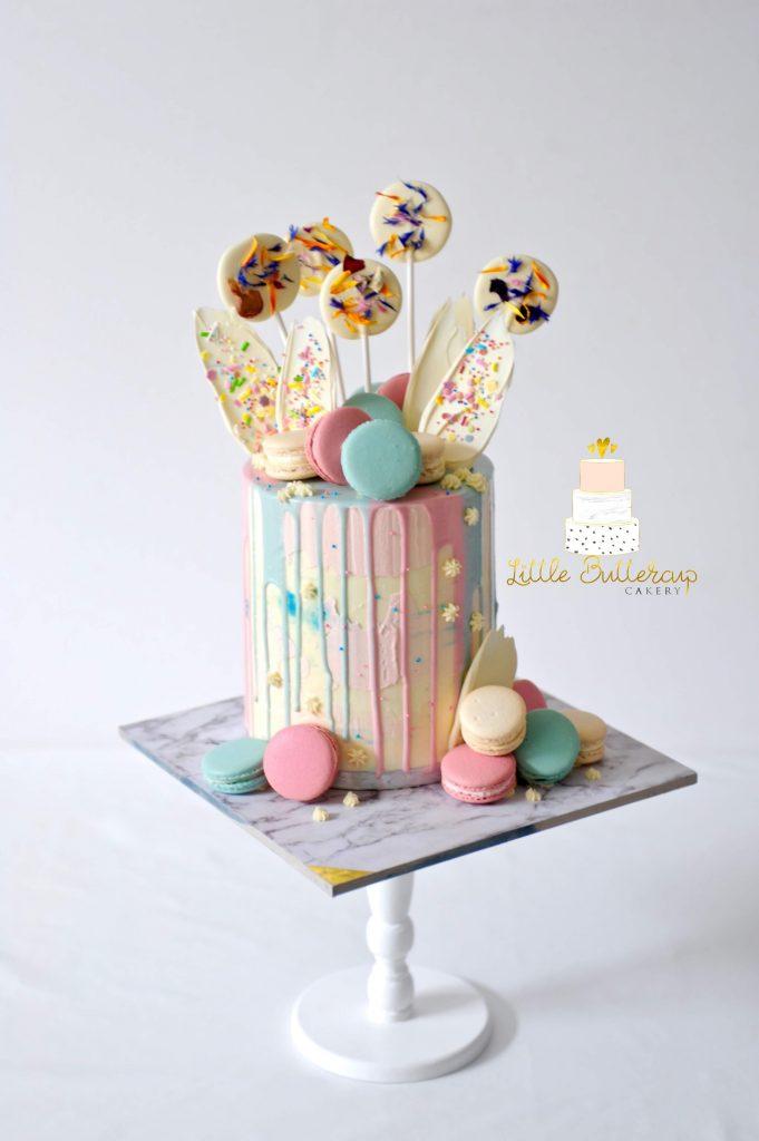 Gender reveal buttercream cake