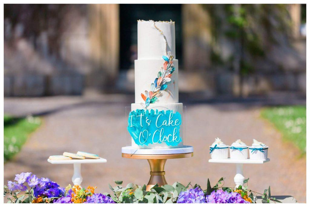 Kingfisher inspired wedding cake