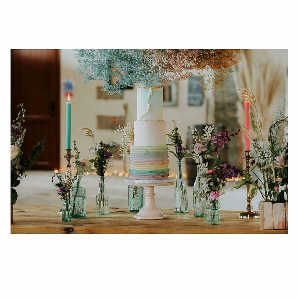 Pastel rainbow wedding cake