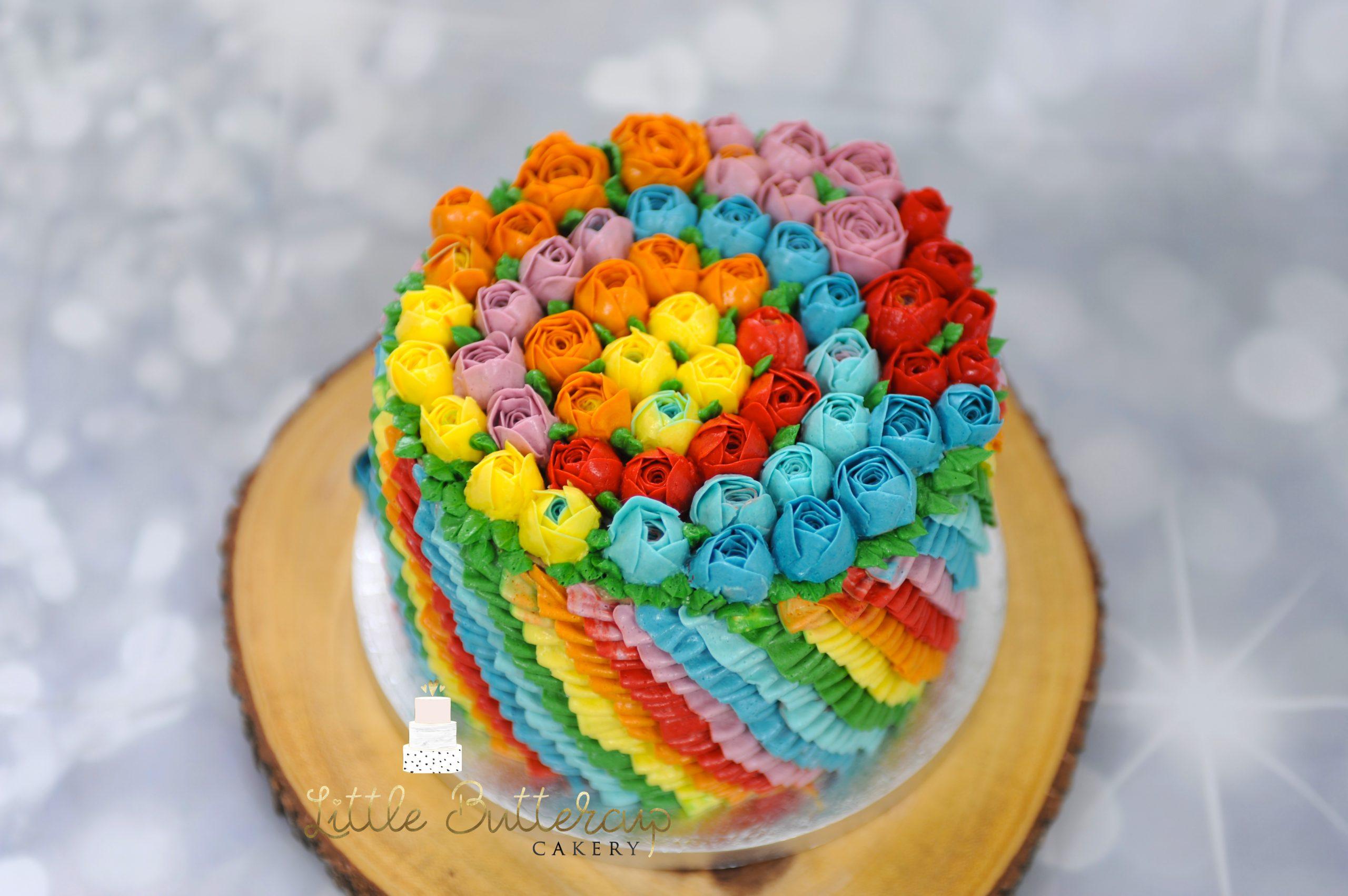 Rainbow celebration cake