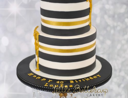 Monochrome Black and White with Gold Drip Birthday Cake