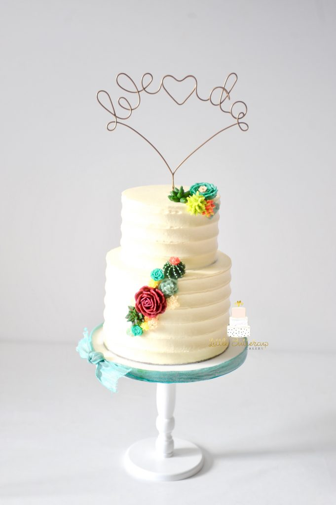 Buttercream Succelent Wedding Cake
