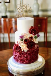 Burgundy colour palette wedding cake