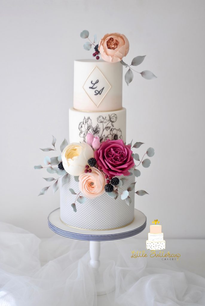 wedding cake blush pink