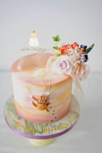Cat and flower cake