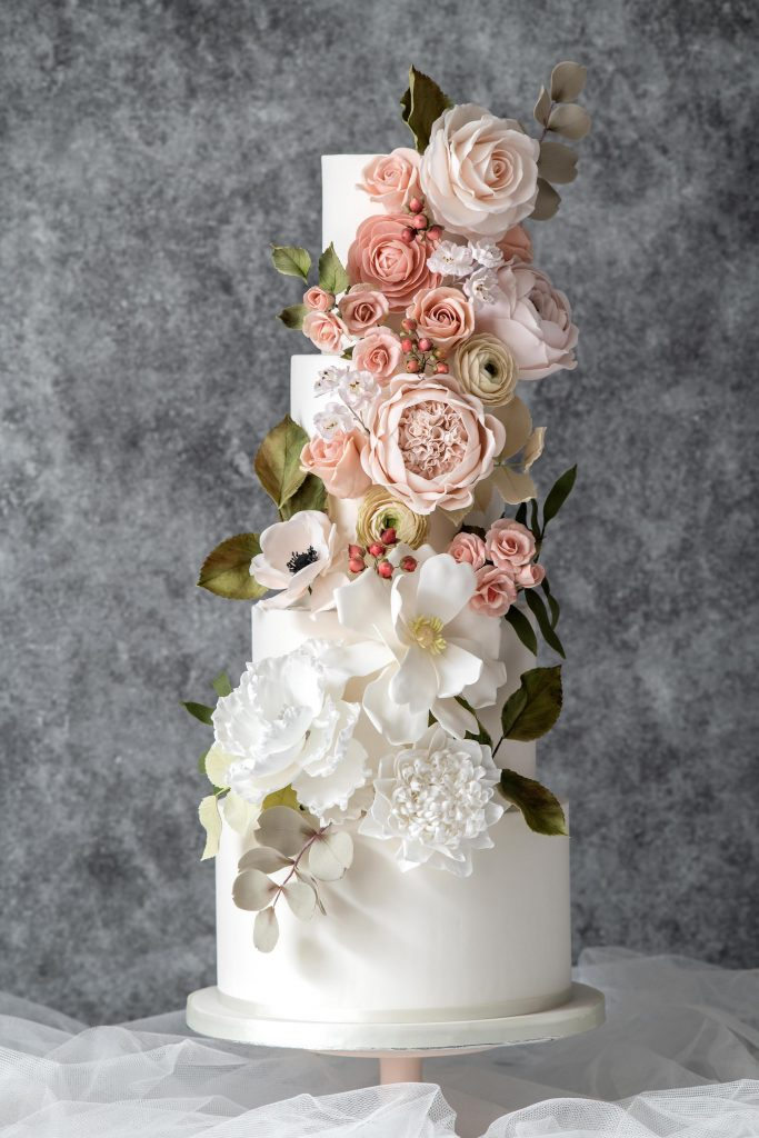 Cascade sugar flowers wedding cake