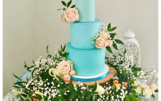 Ombre blue buttercream wedding cake