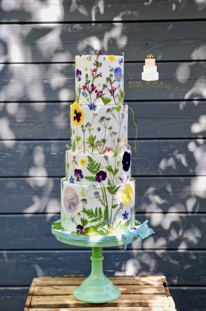 Pressed edible organic flowers wedding cake