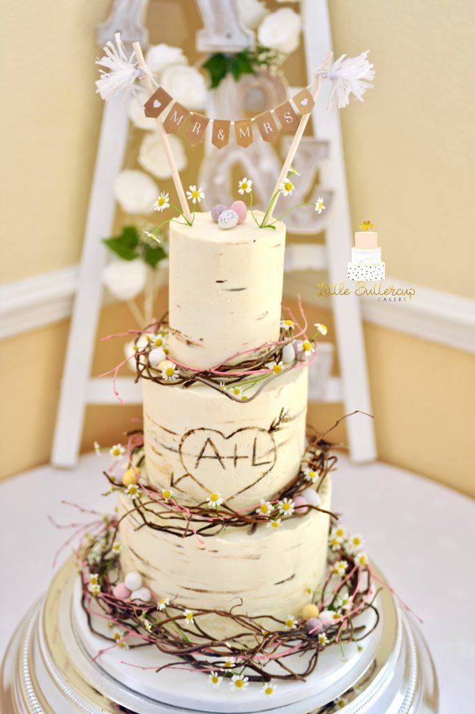 Buttercream birch log wedding cake