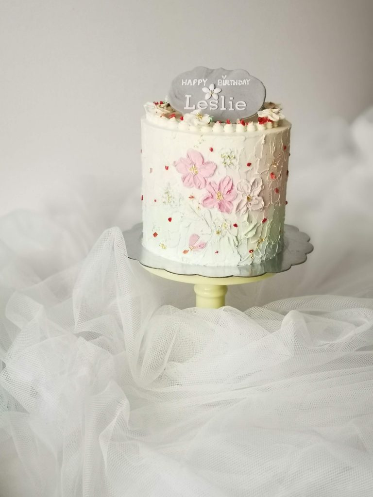 Pastel buttercream birthday cake