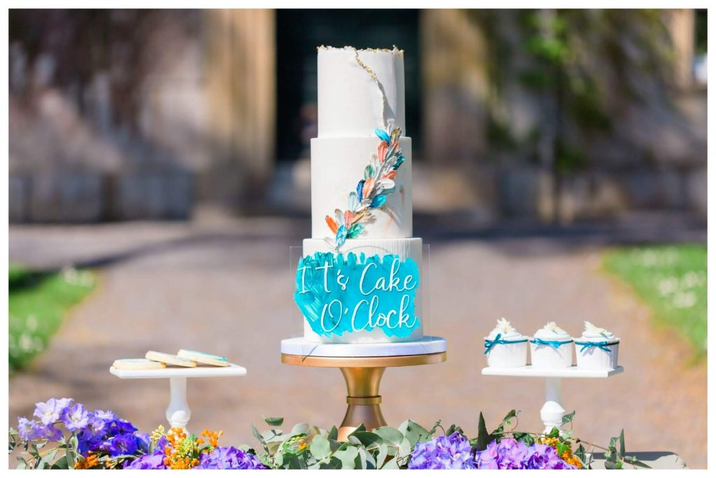 Kingfisher inspired wedding cake