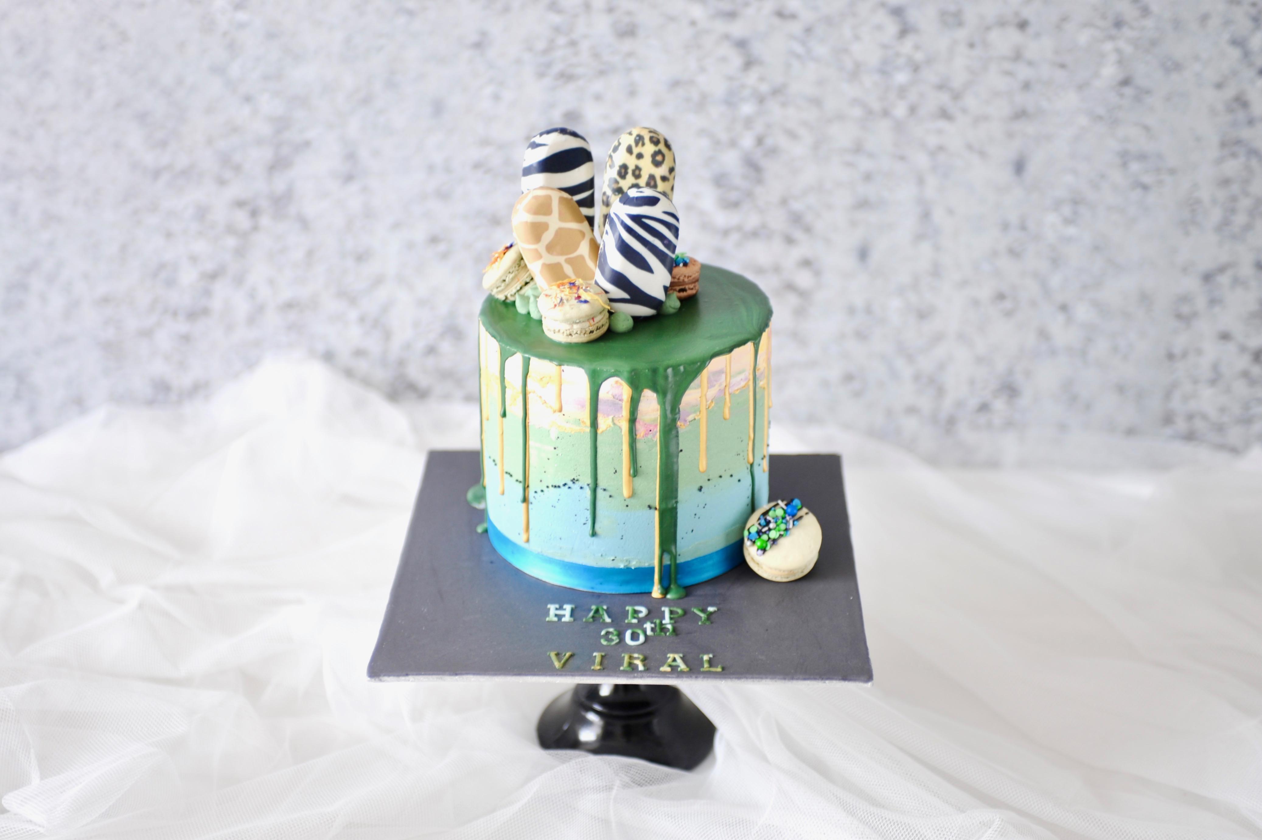 Tanzania & safari theme drip cake