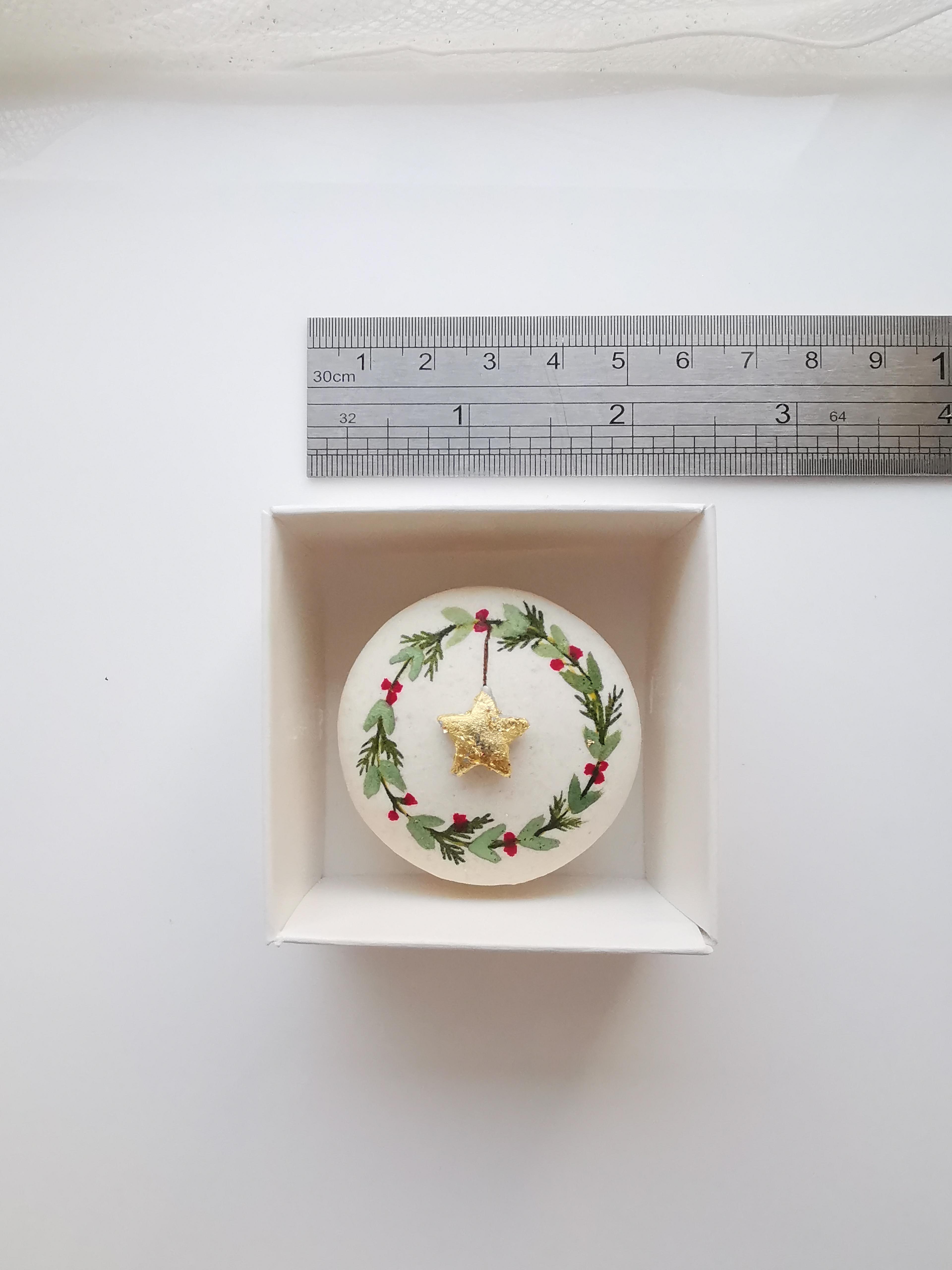 Hand painted Christmas macaron