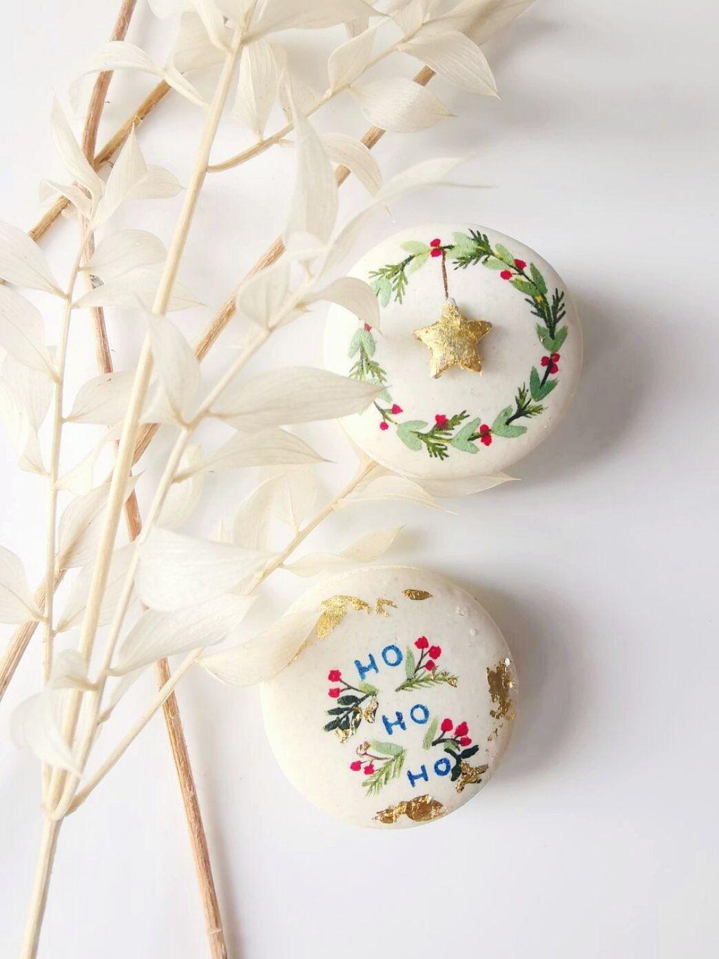 Christmas hand painted macarons